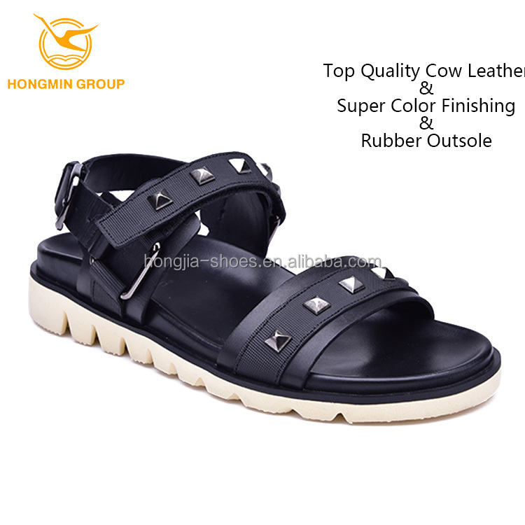 2017 hot new design of summer mans casual shoes , cheap china wholesale genuine cow leather shoes rubber outsole sandals for men