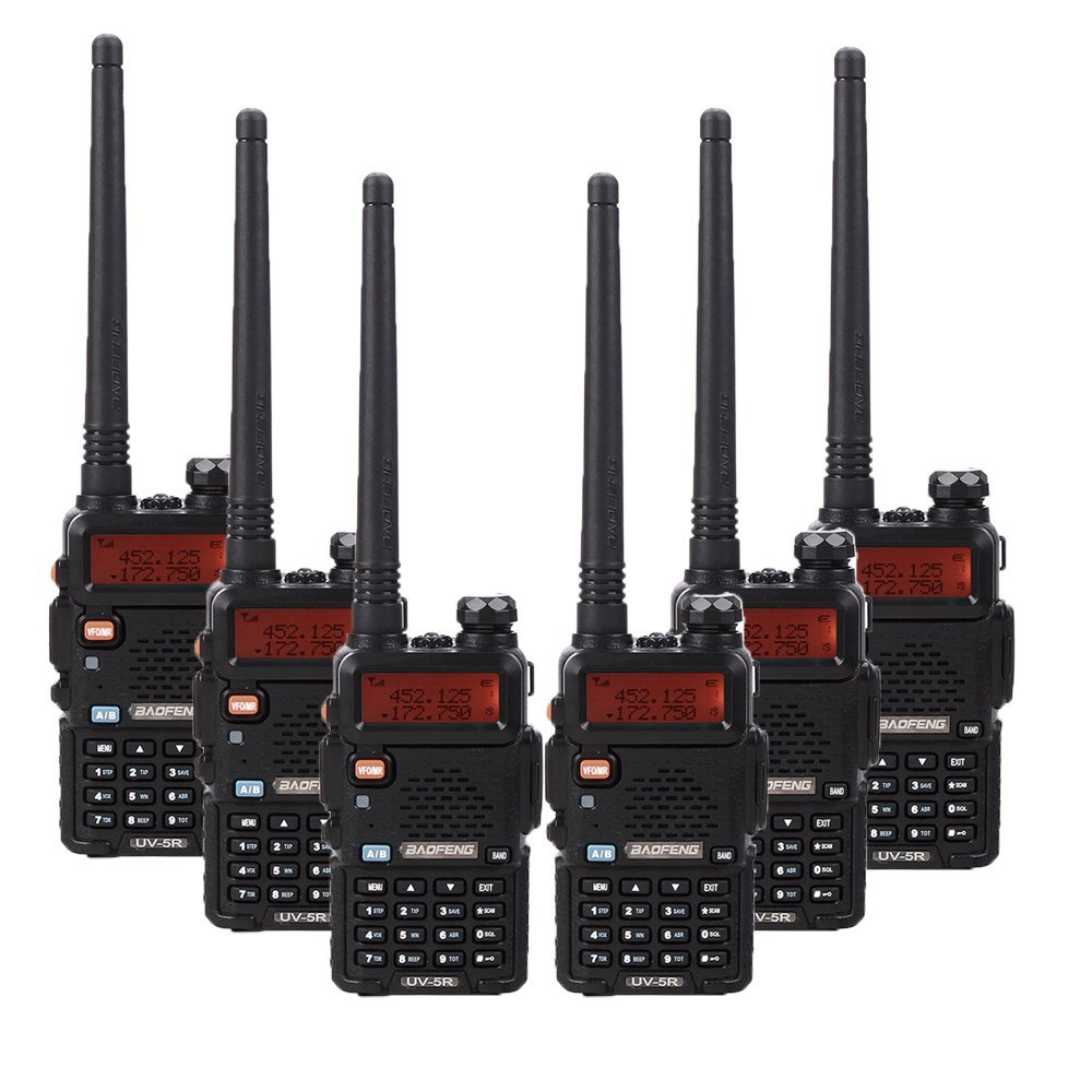 """BaoFeng 6PCS BF-UV5R 1.5"""" LCD 5W 136~174MHz / 400~470MHz Dual Band Walkie Talkie with 1-LED Flashlight Includes Rechargeable Battery (Black)"""