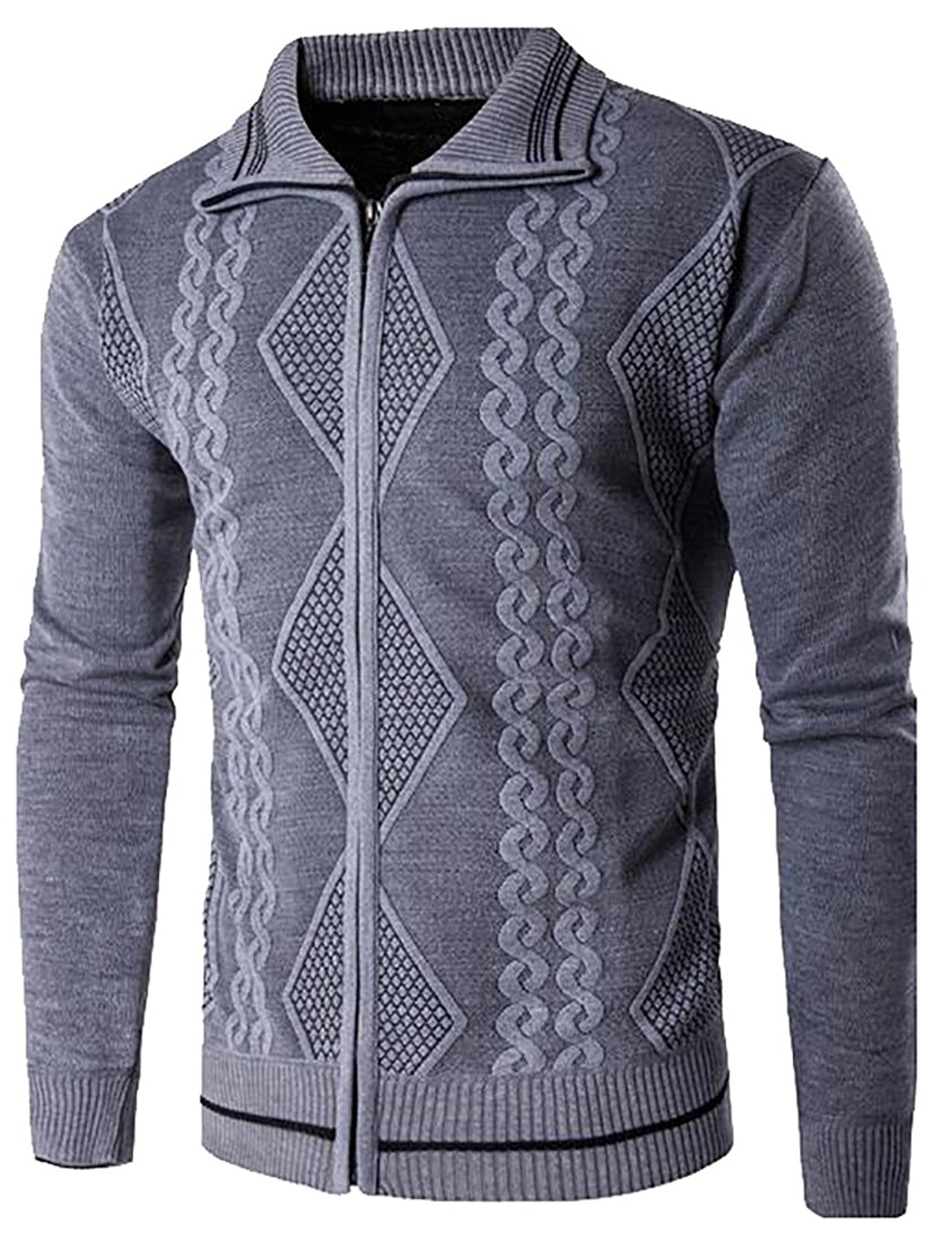 a0458a650 Get Quotations · WSPLYSPJY Mens Casual Ribbed Cable Zipper Open Front Cardigan  Knit Sweater Grey XS