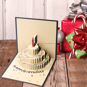 Chinese Supplier 3D Pop Up Birthday Cake Candles Greeting Card Happy Birthday Postcard Envelope