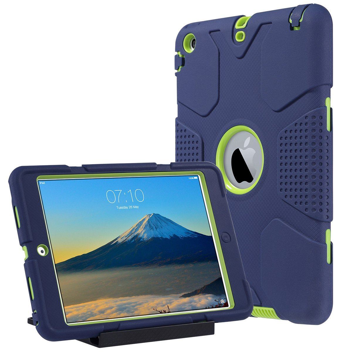 iPad Mini 2 Case, iPad Mini 3 Cover, ULAK Shockproof Smart Fit Bumper Hard Cases Three Layer Knox Armor Protective Cover for Apple iPad Mini 1 2 3 Tablet with Separate Kickstand Navy Blue+ Lime Green