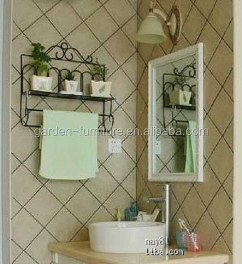 Xy Wrought Iron Wall Shelf With Towel BarBathroom Shampoo - Wrought iron bathroom wall shelves