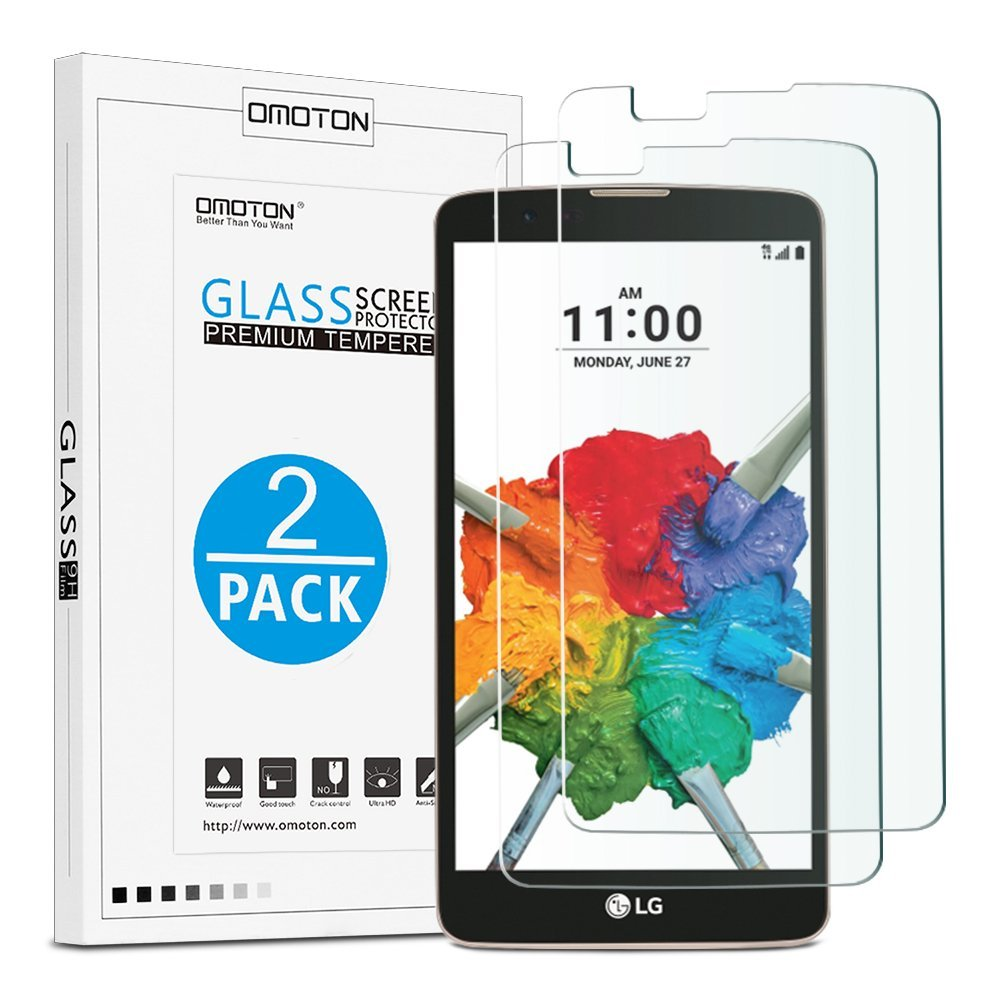LG Stylo 2 / LG Stylo 2 Plus Tempered Glass Screen Protector[2-Pack], OMOTON Screen Protector for LG Stylo 2 / LG Stylo 2 Plus with [9H Hard] [Crystal Clear] [Scratch Resist] [Bubble Free]