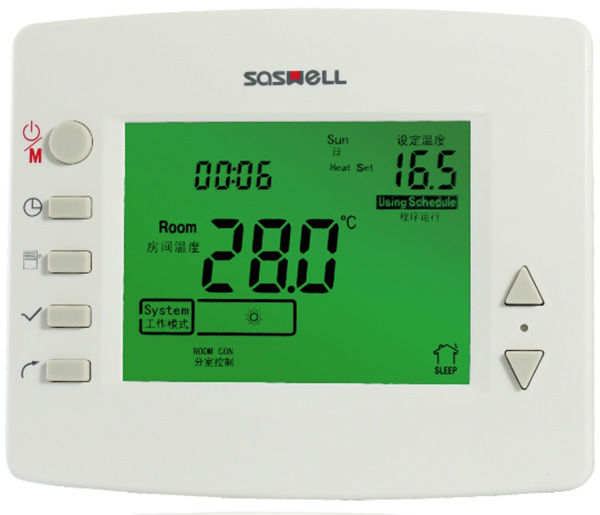 Large Screen Multi Stage Programmable 24v Room Thermostat