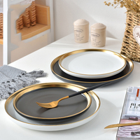 wholesale high quality 8/10 inch ceramic round black and white gold rim dinner plate wedding charger plates