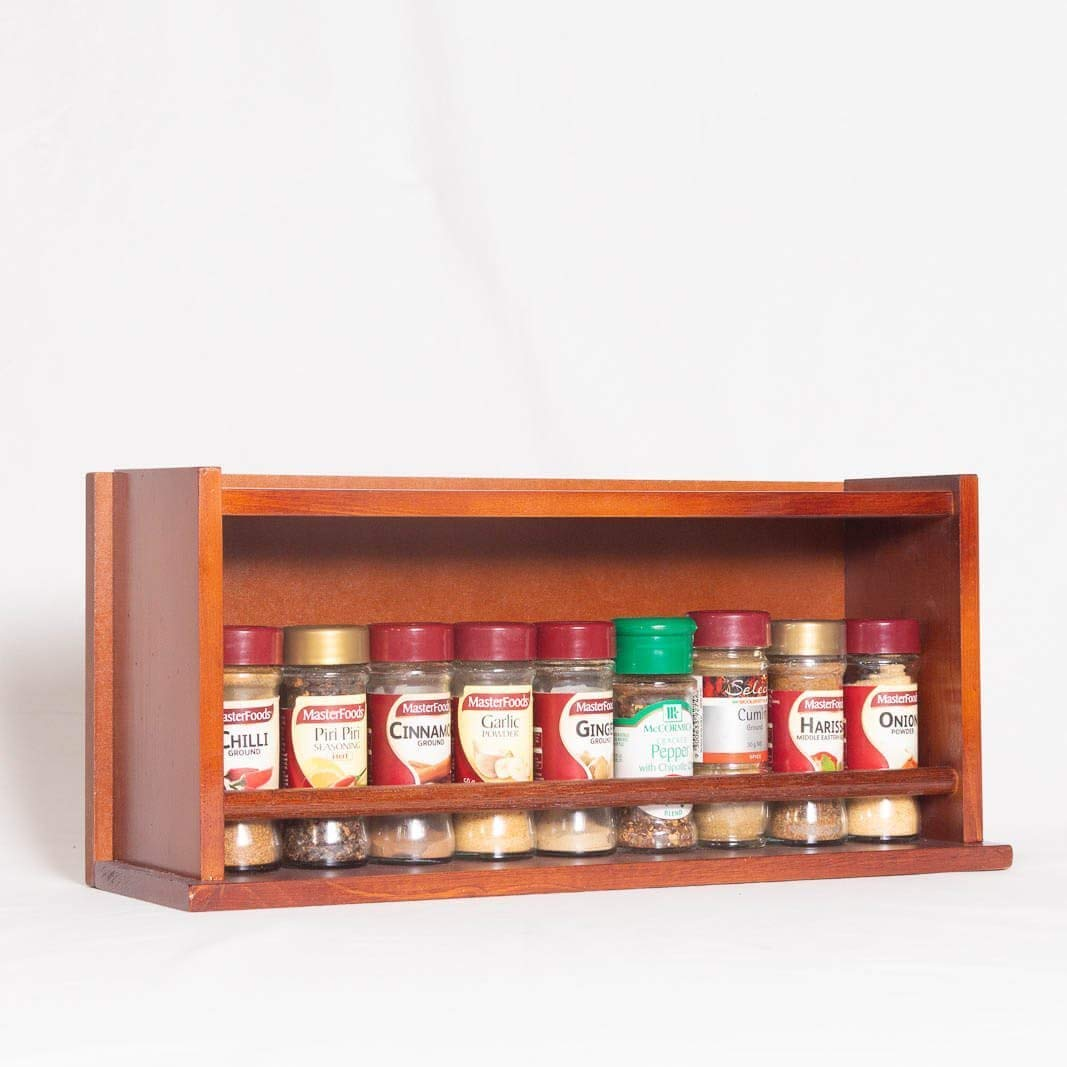 Spice Rack - Wooden - Closed Top - 1 Tier - Timber Dowel - 18 Spice Jars