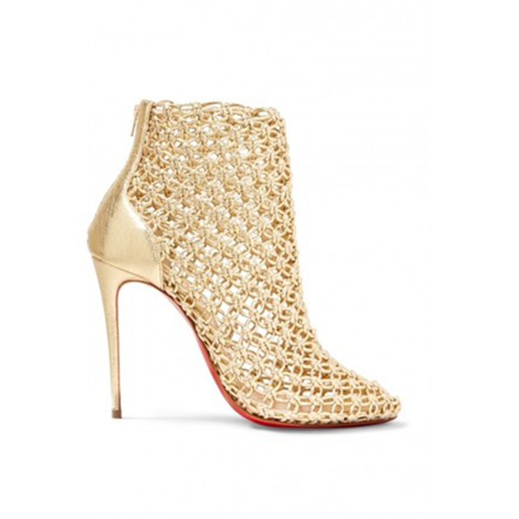 Autumn Metallic Style Golden High Heel Female Mesh Shoes