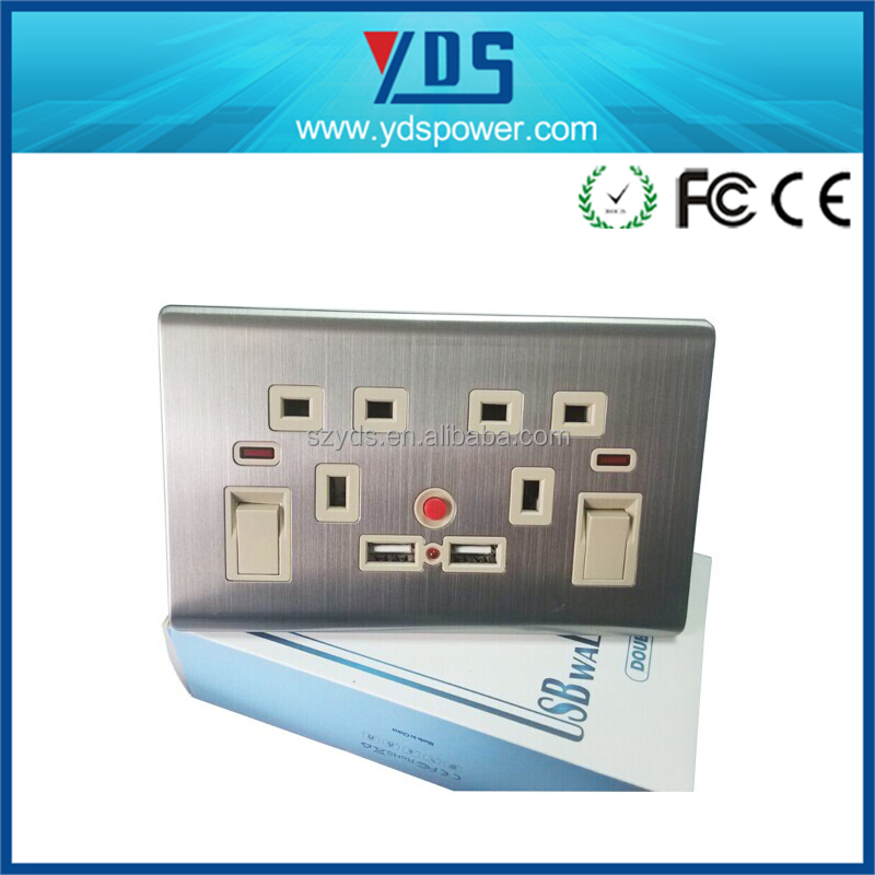Factory priceStainless steel faceplate UK Style 5V 2.1A double USB Electrical usb Wall Socket 240V with CE ROHS Certificate