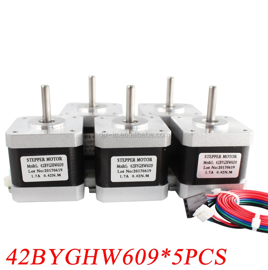 5PCS 42BYGHW609 56oz-in 40mm 1.7A CE ROSH ISO CNC Laser Grind Foam Plasma Cut 4-lead Nema 17 Stepper Motor
