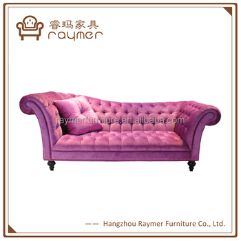 French Style Living Room Furniture Pink Velvet Chesterfield Chaise ...