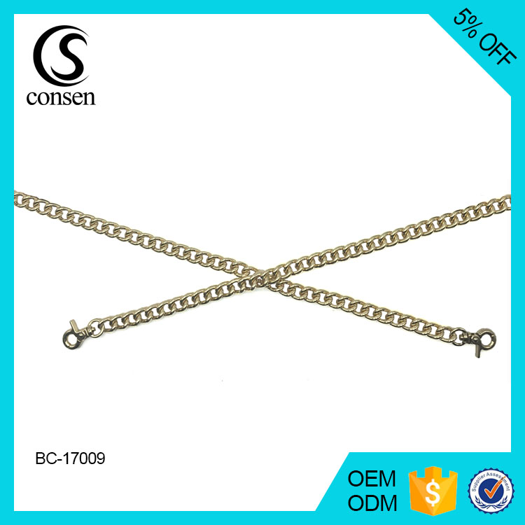 Bag accessories hardware silver color punching decorative metal chain