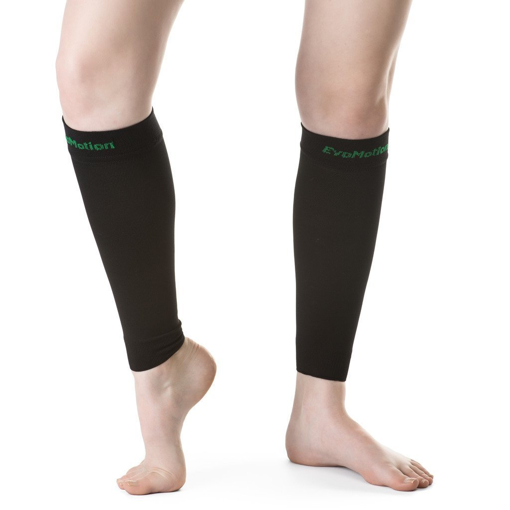 EvoMotion USA Made Men and Women 20-30 mmHg Firm Graduated Compression Calf Sleeves - Medical Grade Athletic Support Circulation & Recovery - Best for Sports Shin Splints Running Travel, 1 Pair