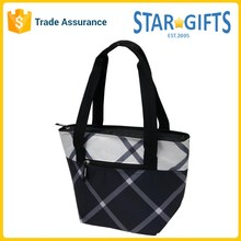 Wholesale Promotional Classic Men Plaid Cooler Tote Bag With Insulated PEVA Lining