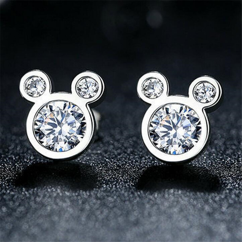 Jewelry Sets Gift Mickey Pendant Necklace Earrings zircon Crystal Fashion Weeding Necklaces For Women
