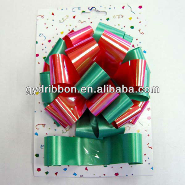 "Two Color Gift Packaging and Holiday Decorations 5"" Metalic Colorful Ribbon Star Bow and ribbon wrapping set"