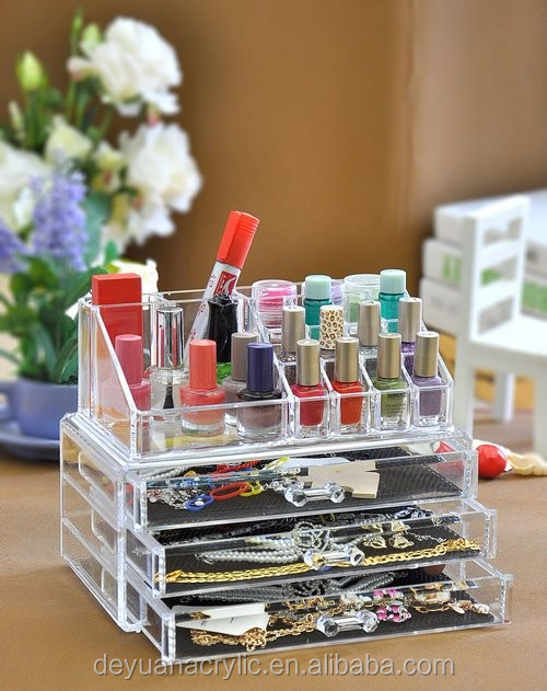 Professional Makeup Cosmetic Case/ Large Acrylic Drawer Box/Acrylic Makeup Box With Drawer