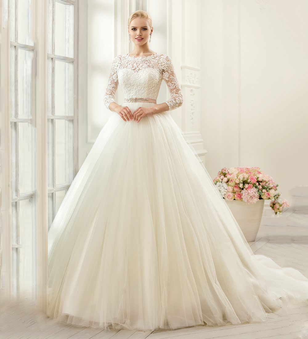 Princess Ball Gowns For Wedding: PW278-Ivory-Long-Sleeve-Lace-Wedding-Dresses-Fashion