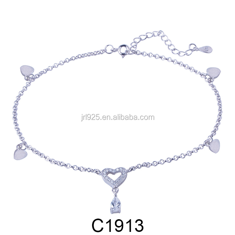 fashion Korean white gold plated heart anklet 925 sterling silver jewelry