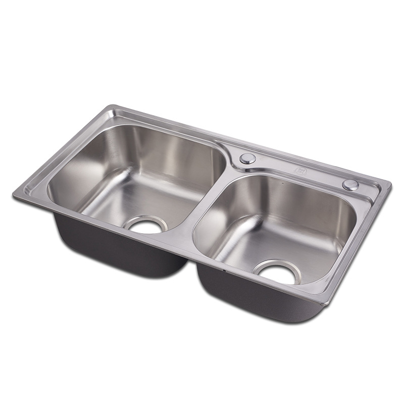 7239 Custom Stainless Steel Kitchen Double Bowl Sink - Buy Small Double  Kitchen Sink,Stainless Steel Double Bowl Round Kitchen Sink,Remote Drain  For ...