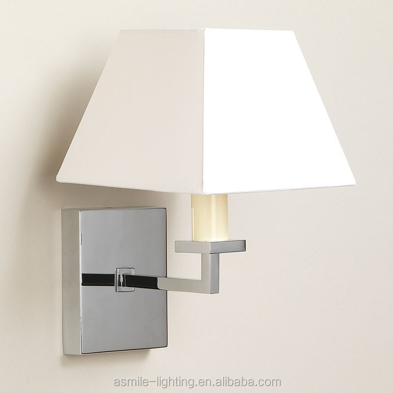 Delicate Chrome Wall Lamp,Iron Lamp Base With Linen Fabric Lamp ...