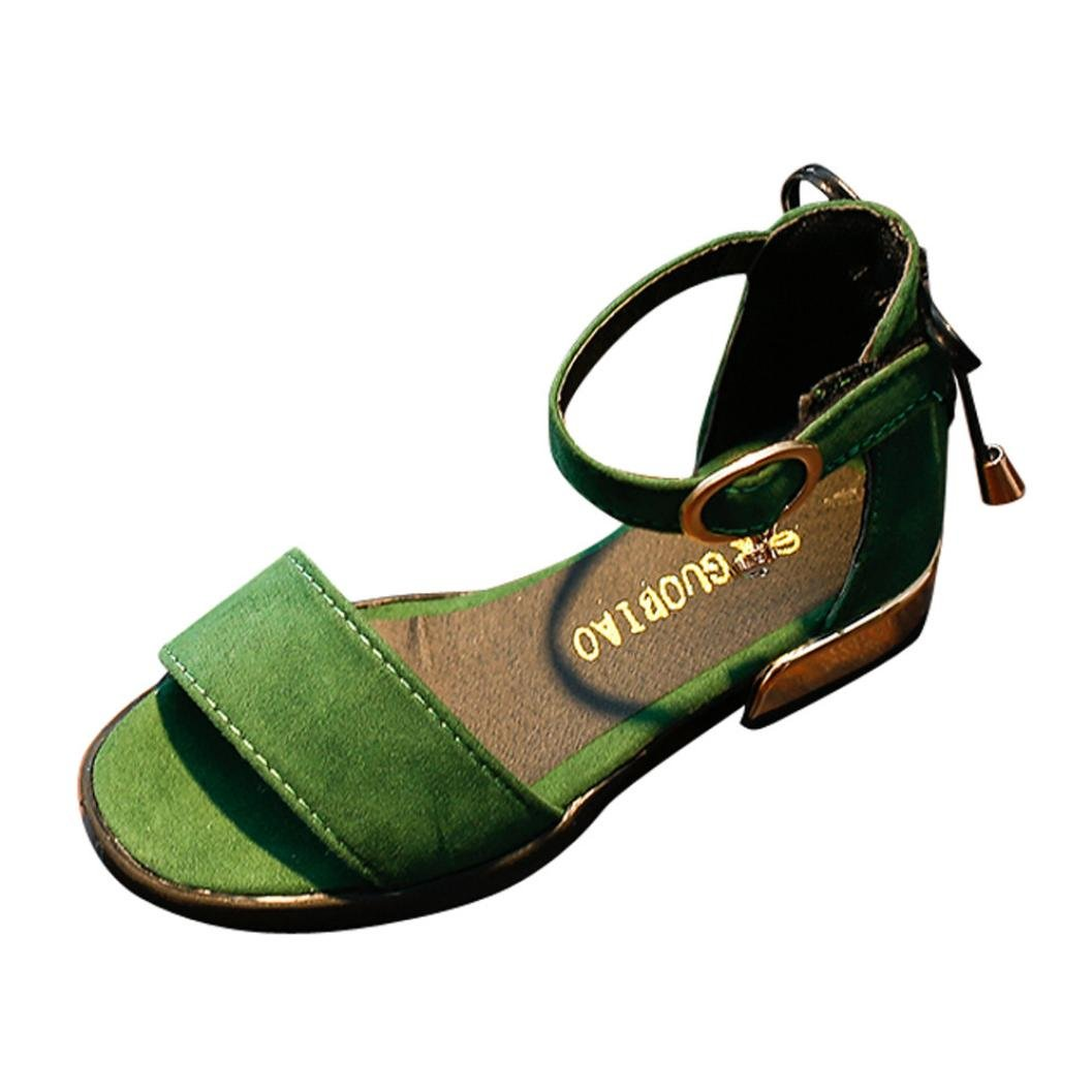 AutumnFall Kids Baby Girls' Low Heel Shoes Toddler Summer Casual Sandals (Age:6.5-7T, Green)