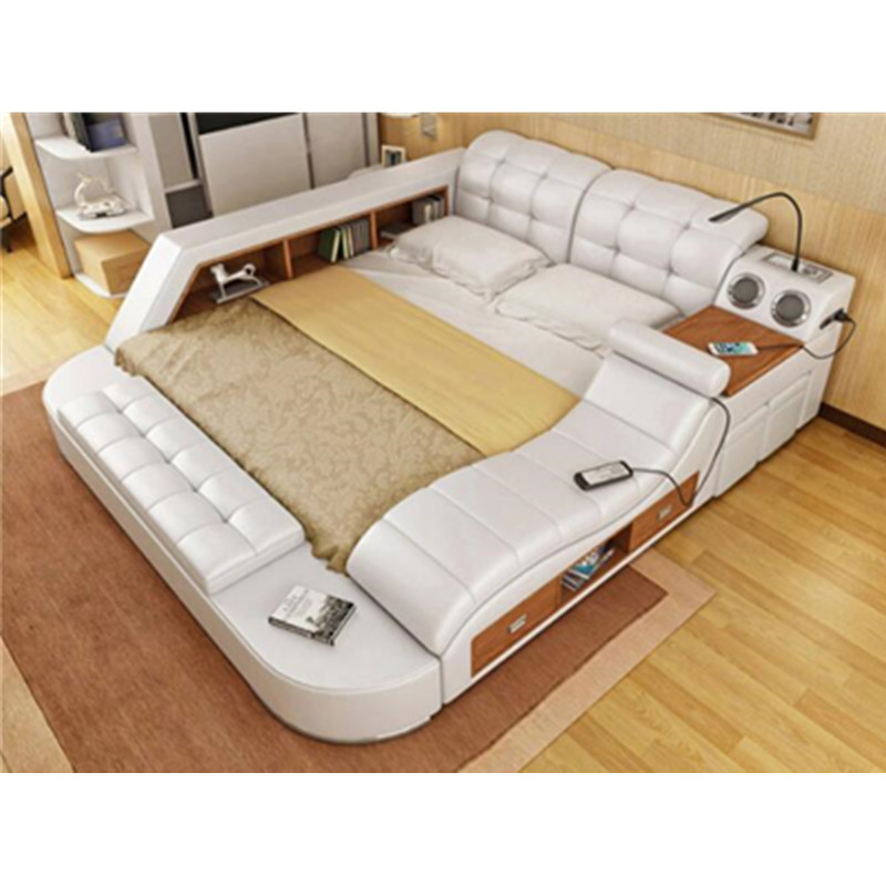 Hot Selling Multifunctional Massage Genuine Leather Bed with Strongbox and Speaker