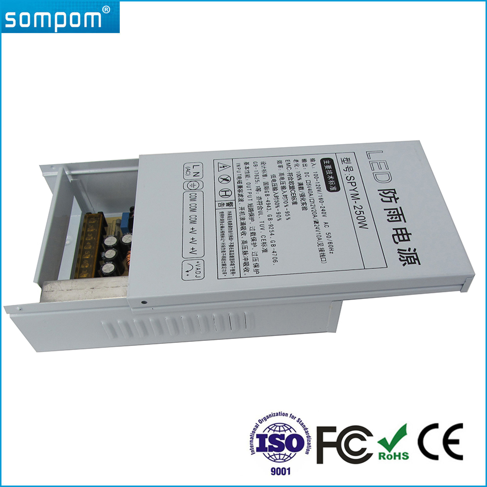 Outdoor Sompom Switch Power Supplier DC 24V 250W Rainproof Lighting Transformer