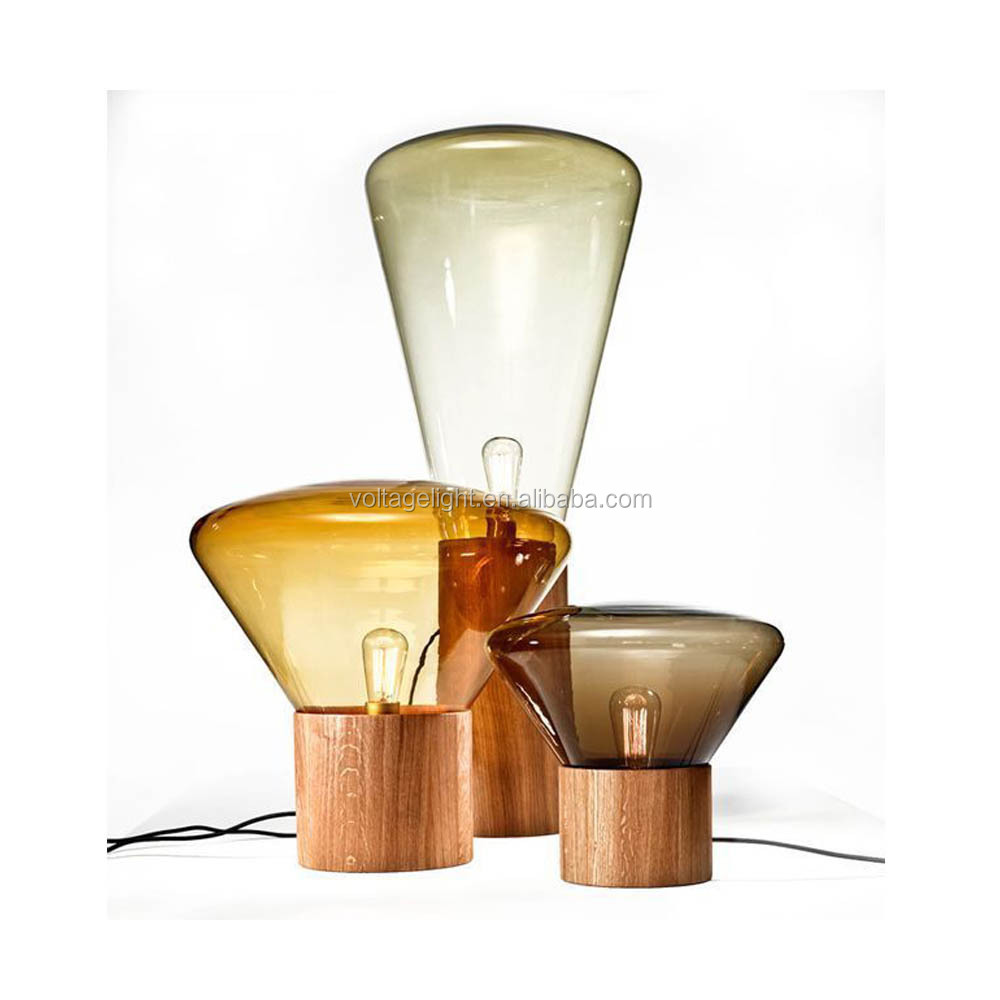 Modern Wood Glass Muffins Floor Lamp With Edison Bulb Wooden Base Designer Lights