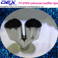 double head heart-shaped universal muffler tips exhaust system