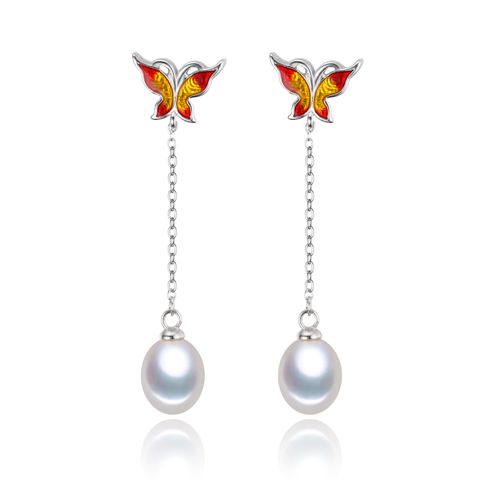 8mm AAA drop natural freshwater pearl earrings 925 silver