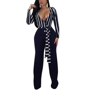 New Fashion Long Sleeve Print Casual Sexy Worker Jumpsuit