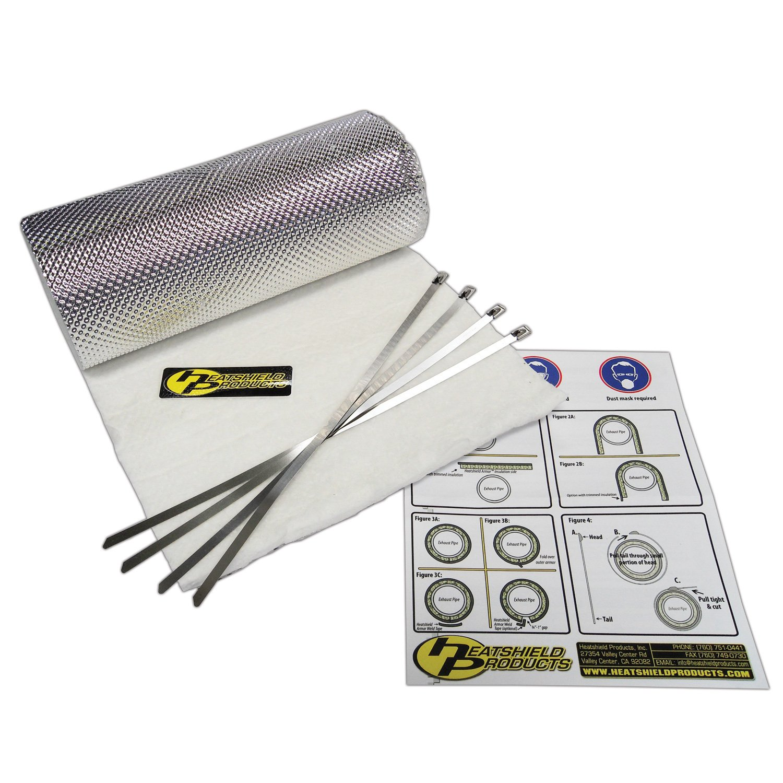 "Heatshield Products 176010 Heatshield Armor Kit 1/2"" Thick x 15"" Wide x 40"" Long Exhaust Heat Shield Kit with 4 Stainless Steel Locking Ties"