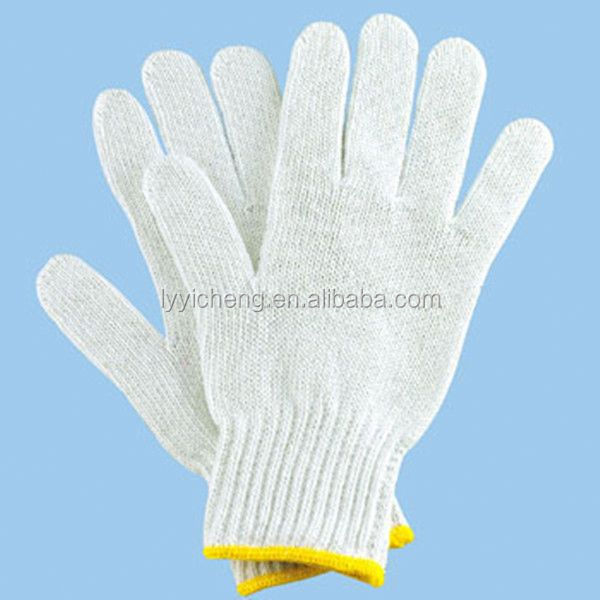 7/10 gauge white knitted cotton gloves manufacturer in china/gloves for hand mask