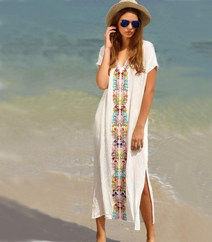 long kaftan beachwear swim cover up white dress for beach