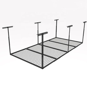 "heavy duty home garage wall shelf system 96"" overhead roof storage metal ceiling hanging shelving rack with wire decking"