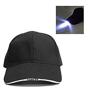 Get Quotations · (Random Color) Adjustable Bicycle 5 LED Light Cap Battery  Powered Hat Outdoor Baseball Cap 9eb2358560f7
