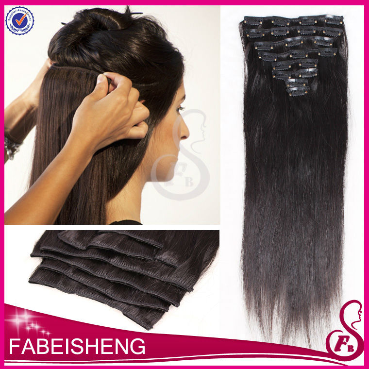 FBS top quality cheap natural color clip in straight hair extension for europian brazilian hair bundles