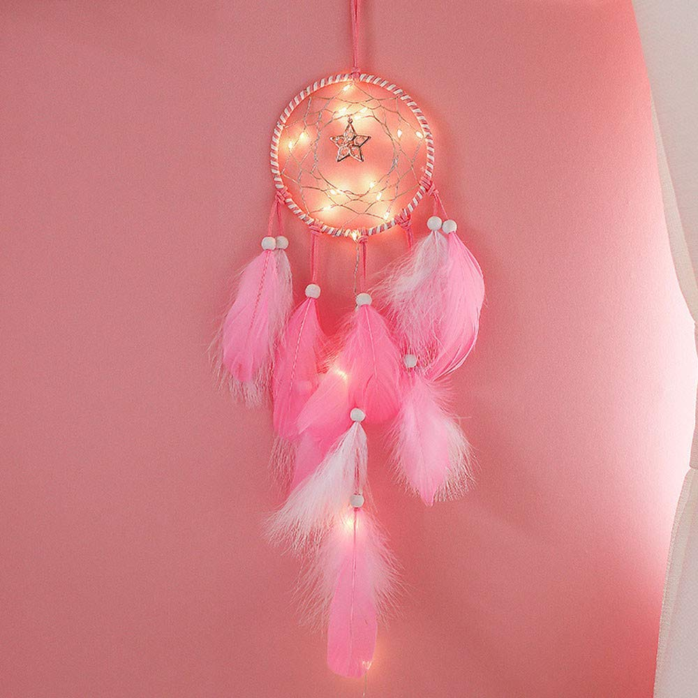 Dirance Dreamcatcher Feather LED String Light Copper Wire Fairy Night Light Lamp Festival Girl Bedroom Home Decor (Pink)