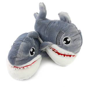 Cute Fluffy Home Indoor Shark Animal Slippers for Kids and Adults