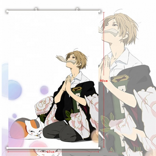 Japanese Cartoon Natsume Yuujinchou Painting Hanging Wall Scroll Poster Cosplay Wallscrolls 60*90cm Size Fabric Material