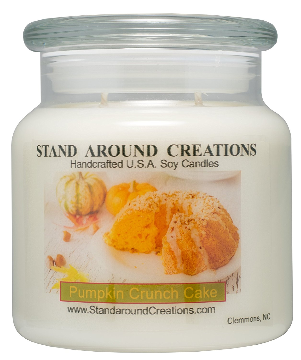 Premium 100% Soy Apothecary Candle - 16 oz. - Scent: Pumpkin Crunch Cake - The aroma of creamy pumpkin pie filling, surrounded w/ freshly baked cake, melted butter, pecans, and hints of spice.