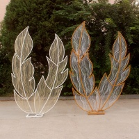 New lace feather wedding props wrought iron background screen stage