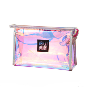 2019 trend laser iridescent cosmetic bag make up pouch girls vanity bag