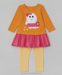 Orange Pink Ghost Tunic Leggings 2 pieces Set Toddler Girls Halloween Outfit