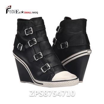 d4b595bc525 Black Leather Buckle Strap Women Girls High Wedge Heel Sneakers - Buy Wedge  Heel Sneakers,Women Wedge Heel Sneakers,Girls Wedge Sneakers Product on ...