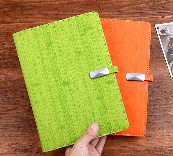 new style pu leather A5 notebook with external power bank