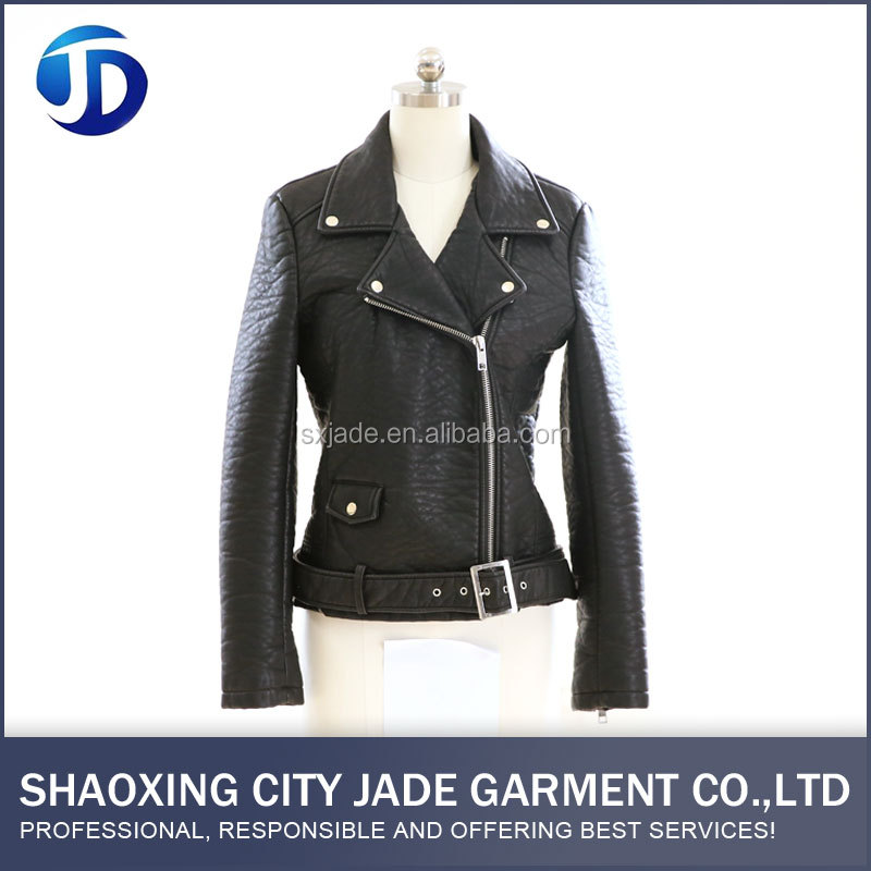 OEM ODM Service PU Eco-Friendly Breathable Lady Leather Jacket