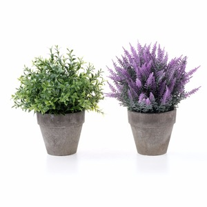 Artificial Plastic Mini Plants Unique Fake Fresh Green Grass Flower In Gray Pot For Home Decor
