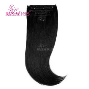 K.S WIGS Factory Wholesale 20inch Top Quality Human Clip In Hair Color 1#