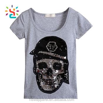ecec5383 Women Tri Blend Grey Reversible Sequin T shirt Skull Pattern Change 2 Two  Way Sequins T